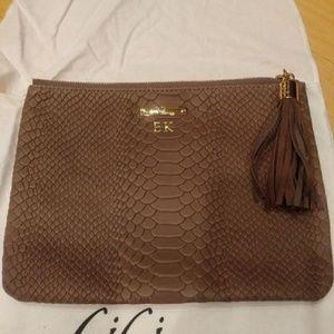 Gigi New York stone embossed python bag